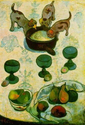 Bild: Paul Eugène Henri Gauguin. Stilleben mit drei Welpen, 1888. Bildbetrachtung auf onlinekunst.de